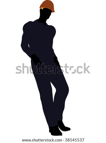Male construction worker art illustration silhouette on a white background