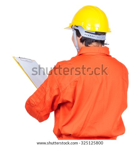 male construction worker over white background - stock photo