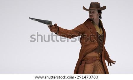 male cowboy outlaw - stock photo