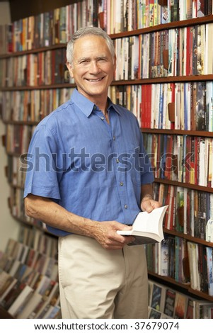 Male customer in bookshop