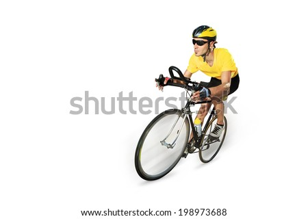 Male cyclist riding a bike isolated on white background - stock photo