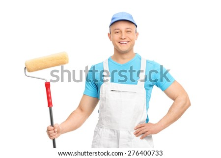 Male decorator posing with a paint roller isolated on white background