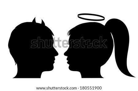 Male devil and female angel - stock photo