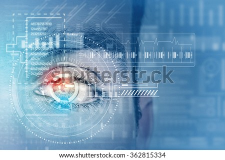 Male digital eye - stock photo