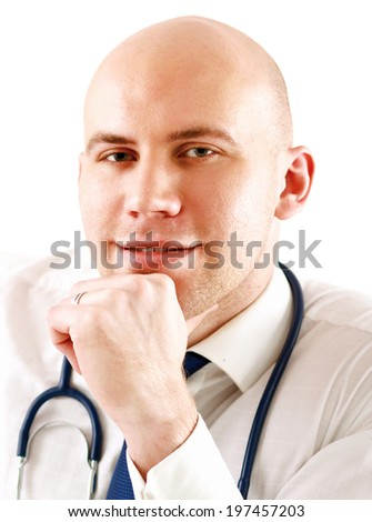 male doctor at his workplace , isolated on white background