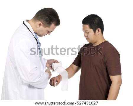 Male doctor examining asian male patient