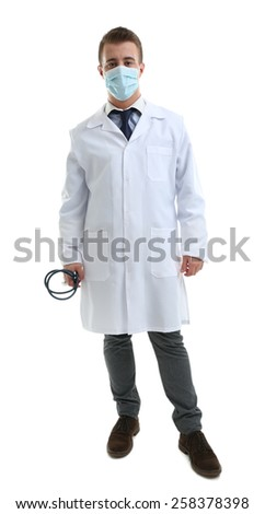 Male Doctor in medical mask isolated on white - stock photo