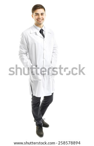 Male Doctor isolated on white - stock photo