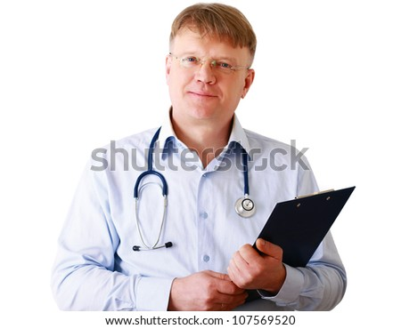 Male doctor standing with folder, isolated on white background - stock photo