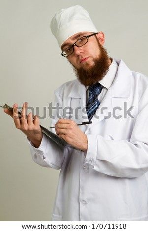 male doctor whit a clipboard  isolated on white background