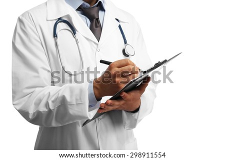 Male doctor with folder isolated on white - stock photo