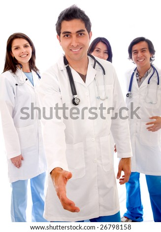 Male doctor with his  team behind him - isolated