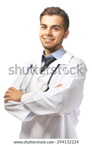 Male doctor with stethoscope isolated on white