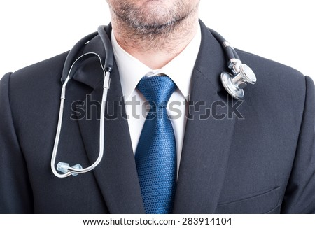 Male doctor with suit and stethoscope. Chest or torso pf hospital manager. - stock photo