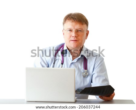 Male doctor working at a workplace, isolated on white background - stock photo