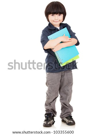 Male elementary school student - isolated over a white background