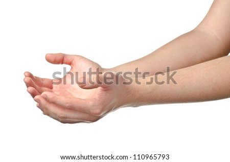 Male empty cupped hands isolated on white background