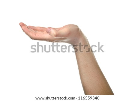 Male empty open hand isolated on white background - stock photo