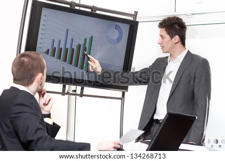 Male executive and his successful team having meeting
