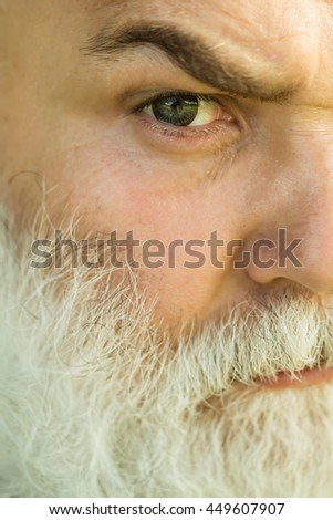 male eye with bright striped lens and hairy eyebrow of old bearded man with wrinkled skin and long beard on serious face, closeup