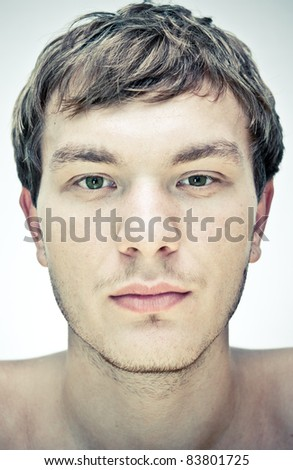 male face  on a white background - stock photo