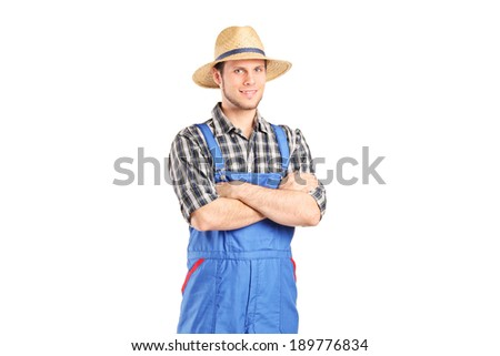 Male farmer in jumpsuit posing isolated on white background - stock photo