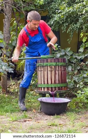 Male Farmer using a wine press to crush grapes to make wine - stock photo