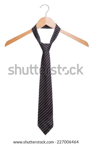 Male fashion tie. On a hanger white background. - stock photo