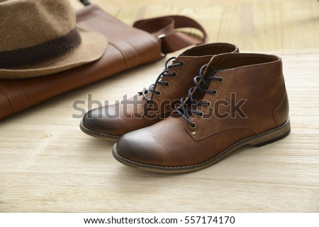Male fashion with shoes, hat,handbag - wooden board