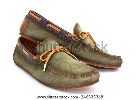 Male fashion with shoes on white background
