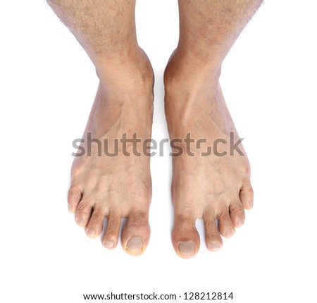 Male feet isolated on white background