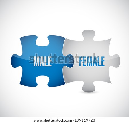 male, female puzzle pieces illustration design over a white background - stock photo