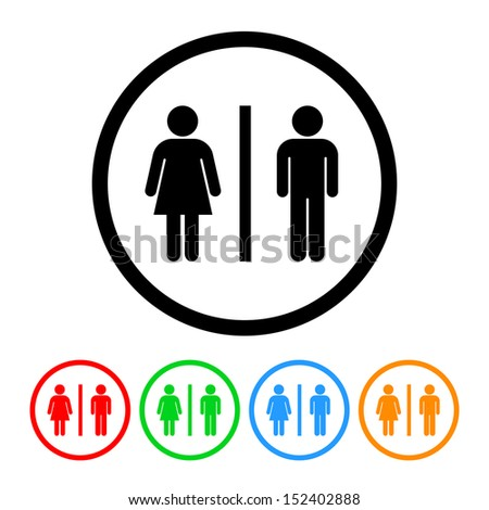 Male Female Restroom Symbol Icon with Color Variations.  Raster Version. - stock photo
