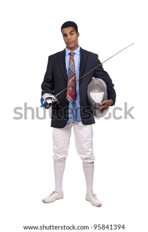 Male fencer businessman isolated in white background - stock photo