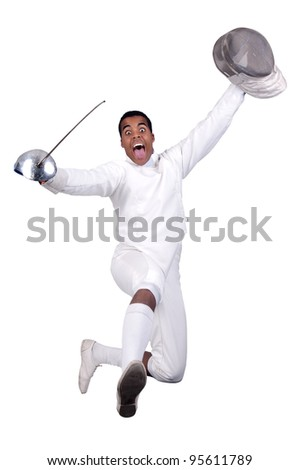 Male fencer isolated in white