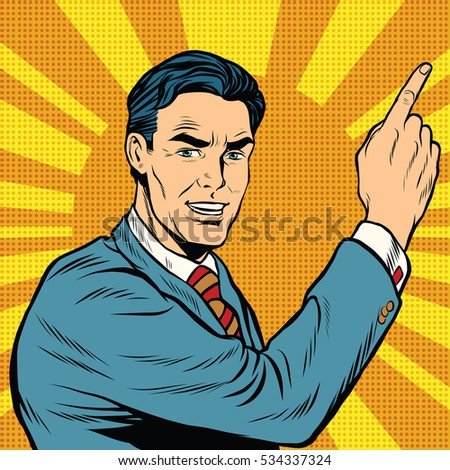 Male finger points, retro background pop art comic drawing illustration