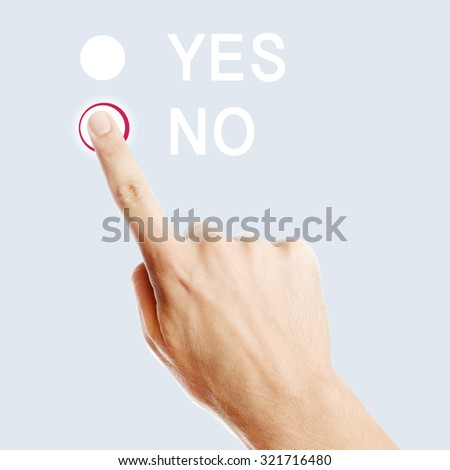 Male finger pressing no button on virtual screen - stock photo