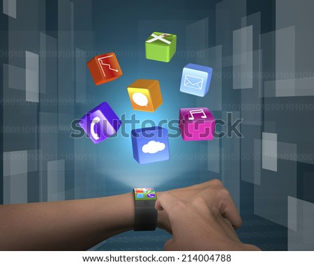 male finger touch ultra slim smartwatch with apps and tech digital background - stock photo