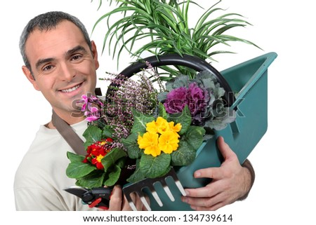 Male florist - stock photo