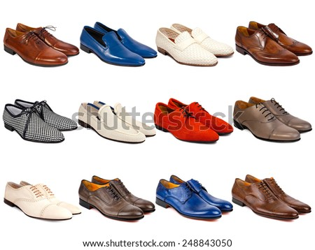 Male footwear collection on a white background - stock photo