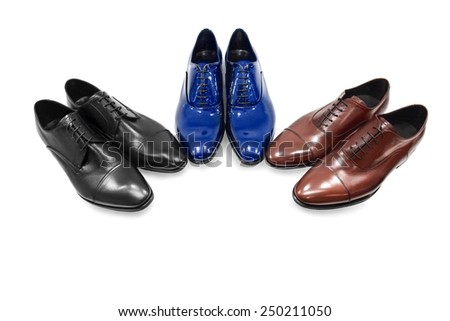 Male footwear on white background. - stock photo