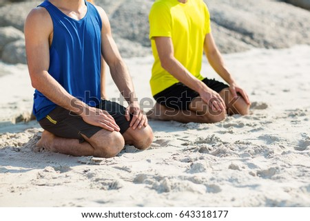 Male friends in sports clothing kneeling on shore at beach