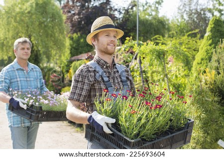 Male gardeners walking while carrying flower pots in crates at plant nursery - stock photo