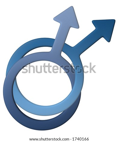 Male gay symbol in gold, easy to isolate and to change color. - stock photo