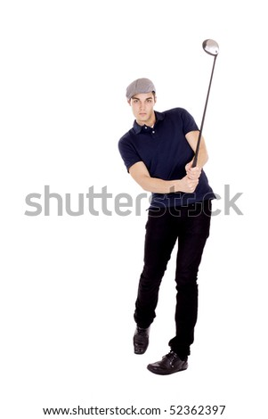 Male golf player isolated on white - stock photo