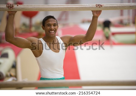 Male Gymnast Performing On Pommel Horse Stock Photo ...