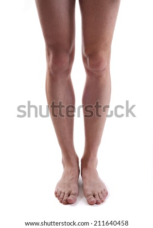 male hairy legs isolated. in front