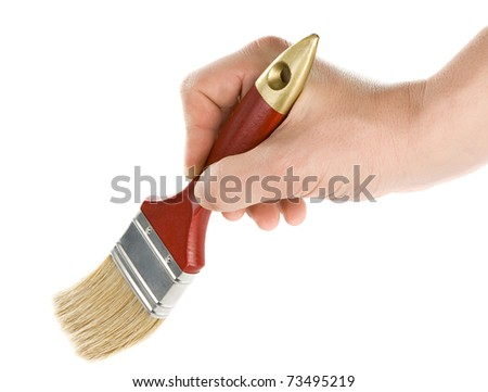male hand and red brush isolated on white background - stock photo