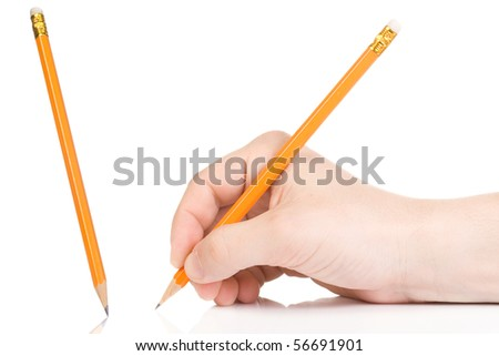 male hand and yellow wood pencil - stock photo