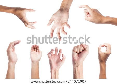 male hand asia people  isolated on white background